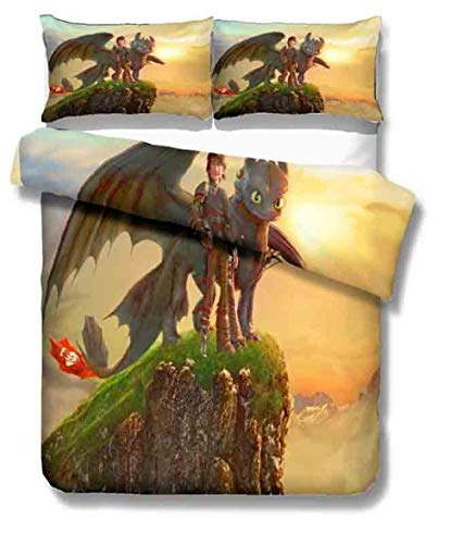 Bcooseso Duvet Cover Super King size 3D Cartoon character animal dragon Printed Bedding Duvet Cover Set with Zipper Closure for Adults 3 Pieces Microfiber 260 x 230 cm