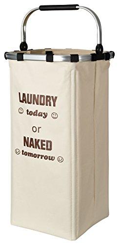 TOPP4u großer Wäschekorb stabil und standfest mit gepolstertem Henkel zum leichten Tragen, beige, 60 l - 33 x 33 x 66 cm, Wäschesammler für bis 8 kg Wäsche