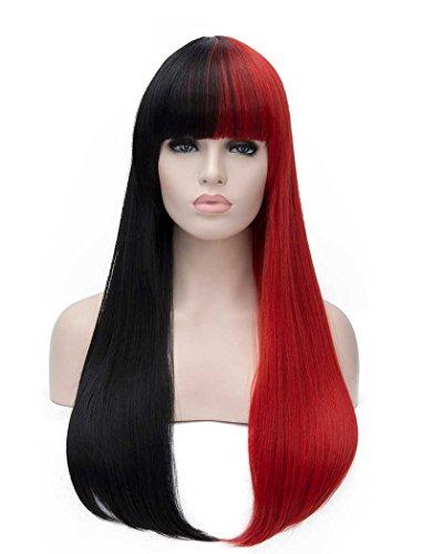 Tsnomore Fashion longue demi droite rouge Demi Black Full Bang femmes cosplay perruque synthétique