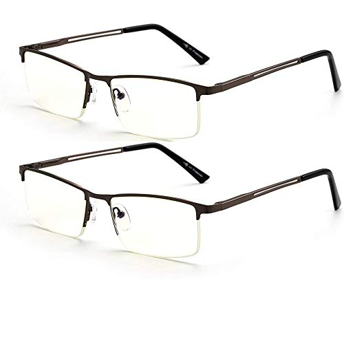 Business Blue Light Blocking Reading Glasses for Men, HUYAOPT 1.5 Computer Reading Glasses for UV Protection Anti Glare Lightweight Metal Frame Fashion Readers