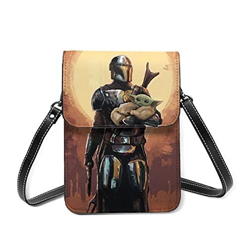 Baby Yoda Star The Wars Mandalorian Cross Body Bag Bolso pequeño ligero mini bandolera con ranuras para tarjetas de crédito, multifuncionales