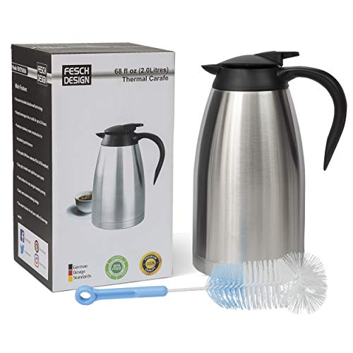 68 Oz (2 Liter) Thermal Coffee Carafe | German-Designed, Stainless Steel Insulated Double Wall | BPA-Free Vacuum Thermos