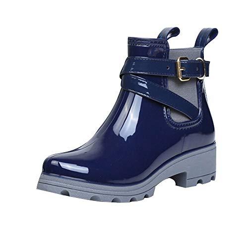 Yowablo Boots Damen Braun Stiefel Damen Flach Overknee Stiefel Schwarz Mit Absatz Stiefeletten Damen Grau Boots Damen Schwarz Stiefeletten Damen Schwarz Stiefel Braun (40 EU,2- Blau)