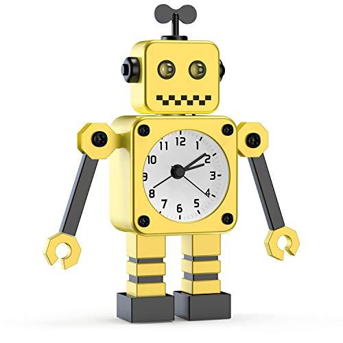 Kinderwecker Jungen, Roboter Wecker Kinder Analoge Wecker Ohne Ticken Lautloser Wecker für Jungs Mädchen Jungen (gelb-01)