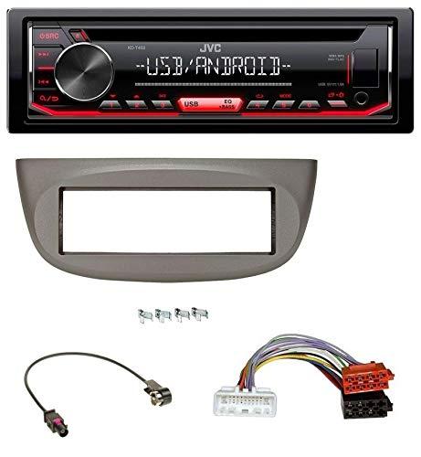 caraudio24 JVC KD-T402 USB AUX MP3 1DIN CD Autoradio für Renault Twingo ab 2015 beige-grau