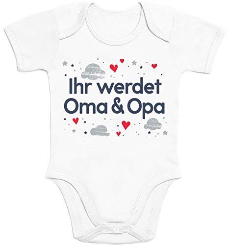 Shirtgeil Ihr werdet Oma & Opa Geschenk Baby Body Kurzarm-Body 0-3 Monate Weiß