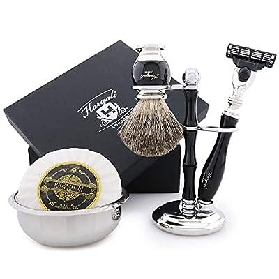Haryali London Shaving Kit – 5 Pc Shaving Kit – 3 Edge Shaving Blade Shaving Razor - Best Badger Shaving Brush – Shaving Soap – Shaving Bowl – Shaving Stand – Black Color Shaving Set as Gift