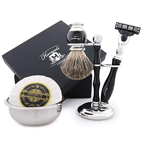 Weihnachten Herren- Rasur-Geschenk Set mit Dachs Haarbürste Rasiermesser Rasieren Soap And Rasierschale