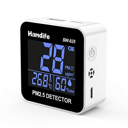 Medidor de calidad del aire, Handife PM2.5 Sensor de calidad del aire de temperatura y humedad, Medidor de calidad del aire Detector de alta precisión Sensor de aire interior Pantalla LCD…