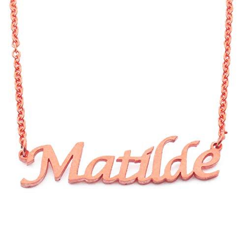 Kigu Matilde Gepersonaliseerde Naam Ketting Verstelbare Ketting - 18ct Rose Goud vergulde Verpakking
