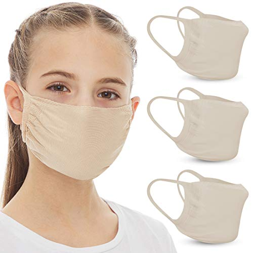 Reusable Face Cloth Mask with double Layer Protection (3 Pcs) - Washable & Breathable Face Cloth Mask with Tubular Pocket design. Comfortable Fashion Cover For Kids