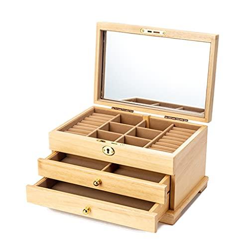 Caja de almacenamiento de joyería de madera, multicapa de gran capacidad, de gama alta, de lujo, antigua, con una llave completa (color: beige, tamaño: 28 × 17,5 × 16,3 cm)
