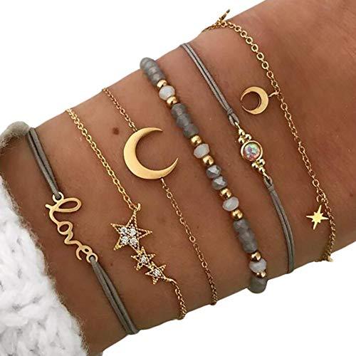 Hosaire Conjunto Estrellas y Luna Pulsera de Mujer Regalos para Las Mujeres Accesorios de la joyería Pulseras niñas de Estilo Vintage (Estilo-3)