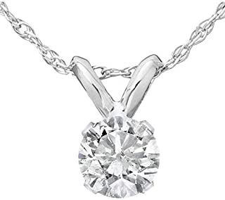 1/3 Ct Diamond Solitaire Pendant Necklace in 14k White Or Yellow Gold