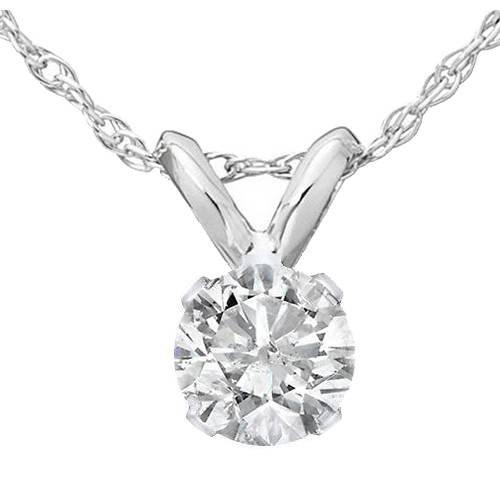 1/3 Ct Diamond Solitaire Pendant Necklace in 14k White Gold
