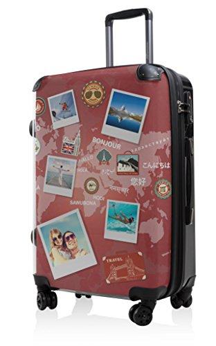 Hauptstadtkoffer Style - Hard-Shell Suitcase - 57 liters - Transparent Front Shell - Interchangeable Design - TSA Lock (World Polaroid Red)