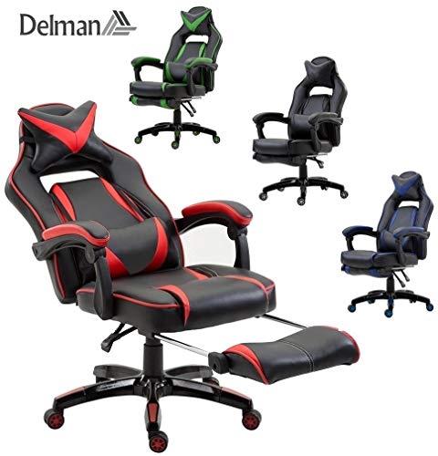 Delman XXL Racing Bürostuhl Schreibtischstuhl Gaming Chair Drehstuhl Höhenverstellbar mit...