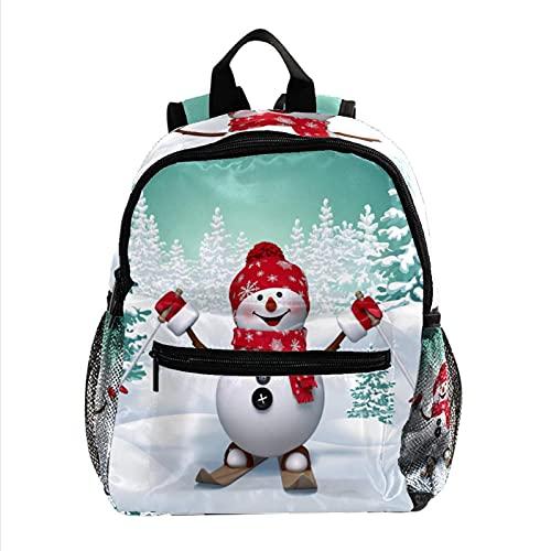 Mochila Esquí de muñeco de nieve Primaria Pequeña Guardería para Mochila Preescolar para Niños de 2-6Años