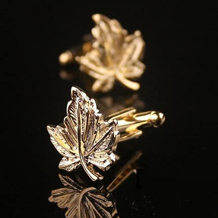 glusess Fashion Personality Golden Maple Leaf Cufflinks for Men Stainless Steel Detachable Cufflinks Men's Luxurious Tuxedo Formal Shirts Wedding Business Official Single Sided Cufflinks Gift