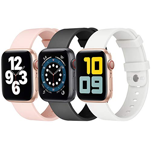 eCamframe Compatible with Apple Watch Bands 40mm 38mm, 3 Pack Soft Waterproof Silicone Sport Straps for iWatch Series 6/5/4/3/2/1 & SE