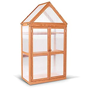 MCombo Wooden Garden Cold Frame Greenhouse Raised Flower Planter Shelf with Hard Translucent PVC Protection 0800 (50)