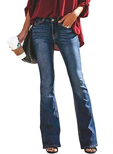 Minetom Mujer Pantalones Acampanados Vaquero Skinny Push Up Pantalones Elástico Jeans Cintura Alta Denim Mezclilla Pants Azul Oscuro 01 L