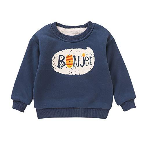 Langarmshirts Kinder Kind Jungen Verdicken T-Shirt Letter Print Oberteile Tops Lässig Dick Pullover Sweatshirt, Dunkelblau, 2-3 Jahre