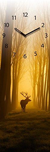 Wanduhr aus Glas, Once Upon a Time, Hirsch im Wald, gelb, 20x60 cm von Eurographics