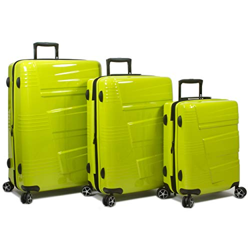 Dejuno Lumos New Generation Hardside 3-Piece Expandable Spinner Luggage Set, Lime