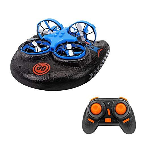 LUSHUN 3 en 1 Mini Drone aerodeslizador controlado a Distancia 3 Modos de Velocidad para Agua y Tierra para Piscinas y Lagos Quadcopter Disponible en Dos Colores,Azul