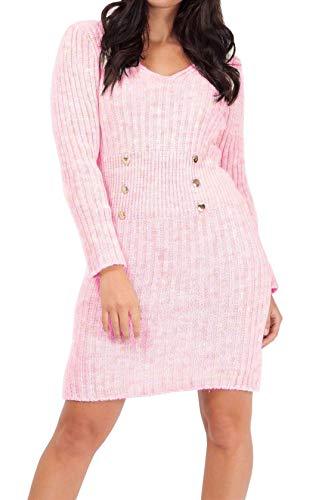 Islander Fashions Robe Moulante Tricot�e � 6 Boutons pour Femmes, col en V et Manches Longues, Pull B�b� Rose EU 42