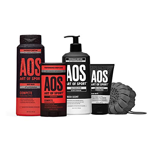 Art of Sport Compete Bestsellers Kit, 5pc Men's Daily Essential Body Care Gift Set with Aluminum-Free Deodorant, Charcoal Body Wash, Body Lotion, Charcoal Face Wash and Shower Scrub Tool, Paraben Free