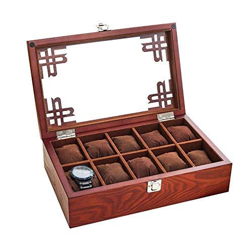 Caja de Almacenamiento de Reloj Caja de Reloj - Madera Plus de Cristal Caja de Reloj, Creativo Simple Caja de Reloj Retro, Tamaño 32x20x7 Cm (Color : Red)