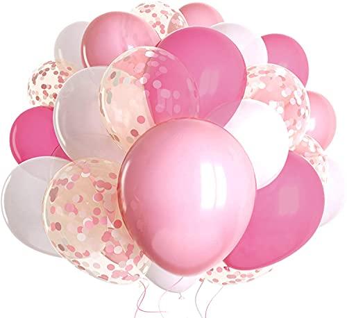 50 piezas Globos de Látex Globos de Confeti Rosas y Blancos Globos de Helio para Bodas, Baby Shower, Fiestas, Navidad, Ceremonia, Cumpleaños y Bautizo