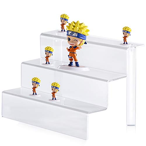 Crostice Acrylic Display Stand 3-Tier Clear Riser Display Shelf for Amiibo Funko POP Figures Cupcakes and Dessert, Desktop Organizer for Cosmetic Items and Craft Show (12 x 8.25 inch, 1 Pack)