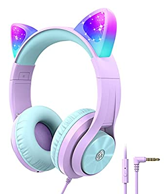 Kids Headphones with MIC, LED Light Up Cat Ear Pink Headphones for Kids Girls Boys, Wired Children Headphones for Online Learning/School/Travel/Tablet by Iclever