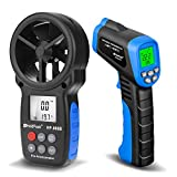 HOLDPEAK 981C Non-Contact Infrared Thermometer Digital Laser Infrared Thermometer -58 to 1022℉ (-50 to 550℃) with Adjustable Emissivity + 866B Digital Anemometer Handheld Wind Speed Meter (2Packs)
