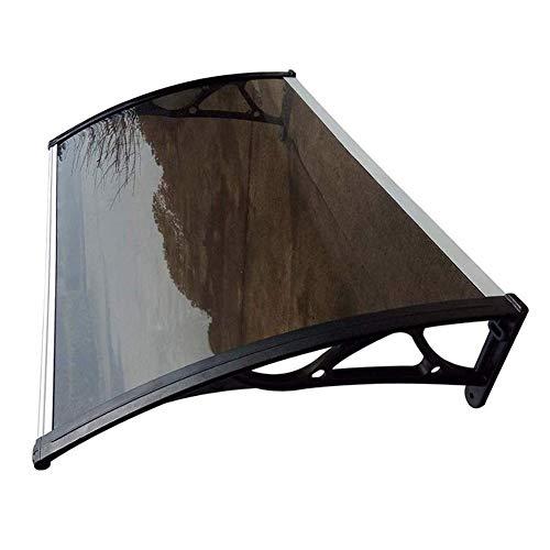 Toldo para patio, porche, refugio para puerta y ventana, cubierta al aire libre, profundidad 60/80 cm, policarbonato para techos para puerta y ventana (color: marrón, tamaño: 80 x 100 cm)