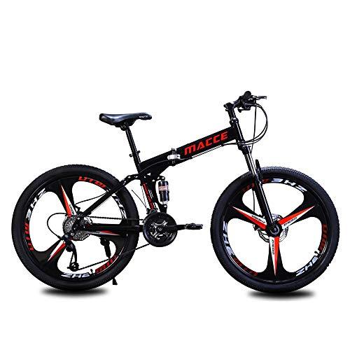 VTT Homme 26 Pouces Vélo en Montagne Vélo pour Adulte Vélos Pliants,vélo VTT Pliable, Cadre Professionnel à 21 Vitesses en Acier Au Carbone, Absorption des Chocs, Système De Freinage De Sécurité-A01