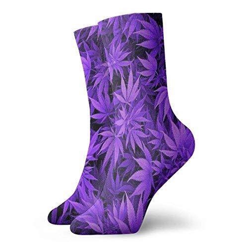 shizh Calcetines deportivos deportivos personalizados con hojas de cannabis púrpura para hombres/mujeres, se adapta a baloncesto/voleibol