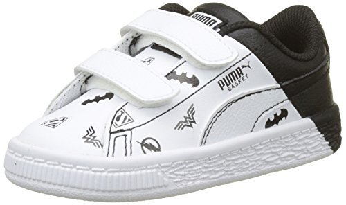 Puma Unisex-Kinder JL Basket V Inf Sneaker, Weiß White White Black, 24 EU