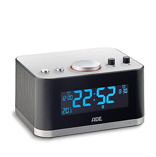 ADE digitale wekker CK 1706. Bluetooth luidspreker met LCD-display, 2 wektijden, snooze, thermometer, slaaptimer, kamergeluid, USB. Behuizing van roestvrij staal. zwart - zilver