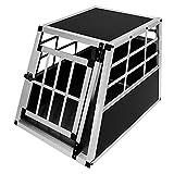 Pet Car Transport Crate Cage Aluminium Travel Box Trapezoidal Dog Cat Puppy Carrier Estate Vehicle 1 Door 50 x 54 x 69cm   FREE Plastic Washable Mat