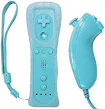 Remote Controller for Wii U Nintendo Wii Remote and Nunchuck Controllers with Silicon Case for Wii and Wii U (Blue) photo