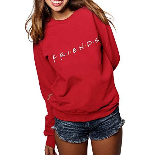 Mujer Sudaderas Friends Imprimir Sudadera Manga Larga Cuello Redondo Pullover Hip Hop Hoodie Camiseta Blusa Tops Suéter Otoño Invierno Casual