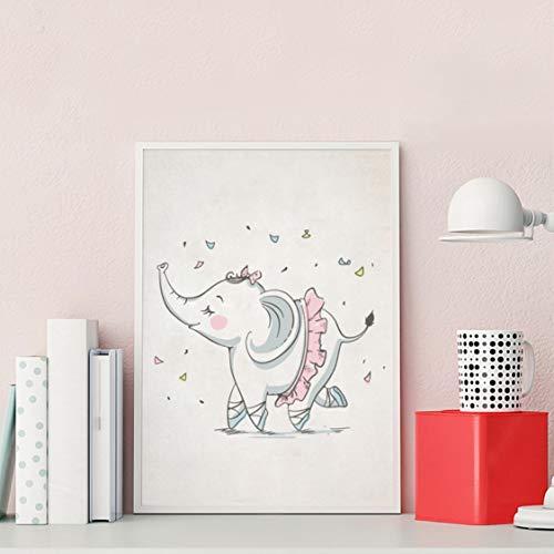 Danjiao Nordic Niedlichen Elefanten Ballerina Tanzen Kunstdruck Bilder Handgezeichnete Ballett Mädchen Mit Kaninchen Leinwand Gemälde Kunstplakat Wohnzimmer 60x90cm