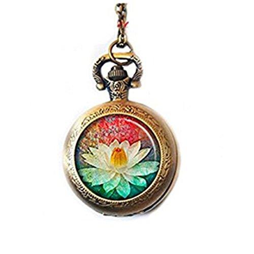 Lotus - Reloj de bolsillo con colgante de flor de loto