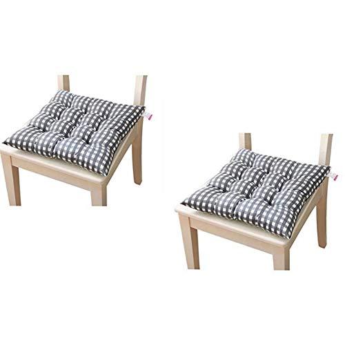 Cojines de asiento para silla de comedor, jardín, cocina, comedor, sillas, etc. Paquete de 2 unidades (gris)