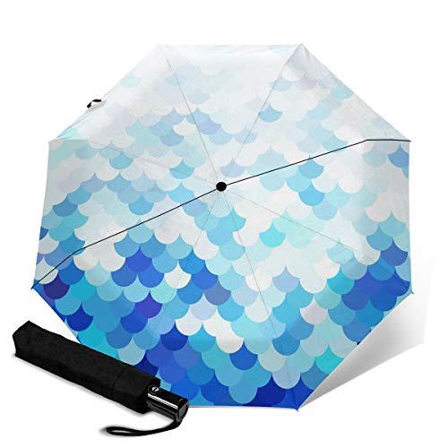 Paraguas azul con patrón de azulejos de techo impermeable a prueba de viento con protección UV automático, triple plegado para viajes, paraguas de lluvia plegable para hombres y mujeres