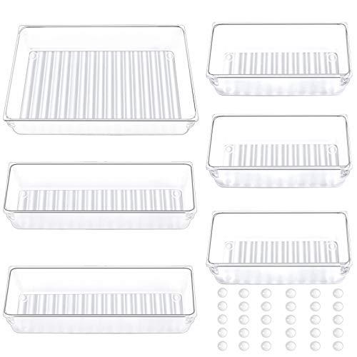 WJYIKEE Schreibtisch Schublade Organizer Tabletts Kunststoff Aufbewahrungsboxen Teiler Make-up Organizer für Küche Schlafzimmer Büro (6 Stücke)